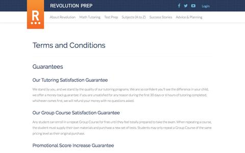 Terms and Conditions - Revolution Prep