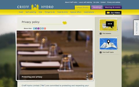 Screenshot of Privacy Page crieffhydro.com - Privacy Policy for the Crieff Hydro Hotel Website - captured Sept. 23, 2014