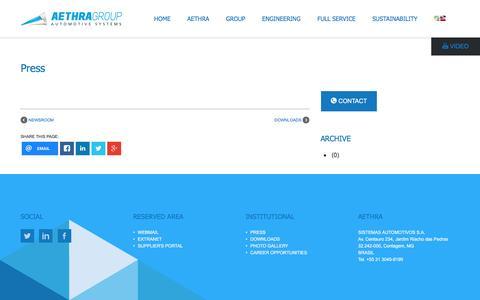 Screenshot of Press Page aethra.com.br - AETHRA GROUP automotive systems Press - captured Nov. 20, 2016