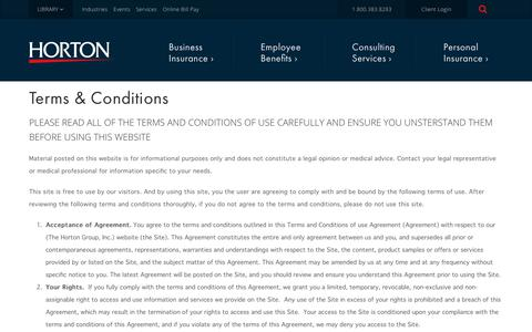 Screenshot of Terms Page thehortongroup.com - Terms & Conditions | The Horton Group - captured Dec. 5, 2018