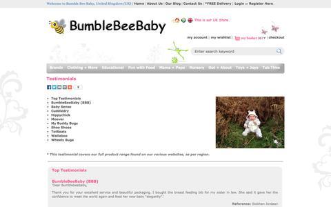 Screenshot of Testimonials Page bumblebeebaby.net - BumbleBeeBaby.net | Testimonials - captured Oct. 5, 2014
