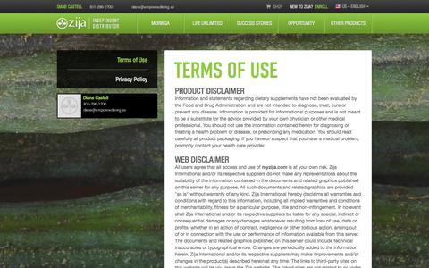 Screenshot of Terms Page myzija.com - Terms of Use | Zija Independent Distributor - captured Sept. 18, 2014