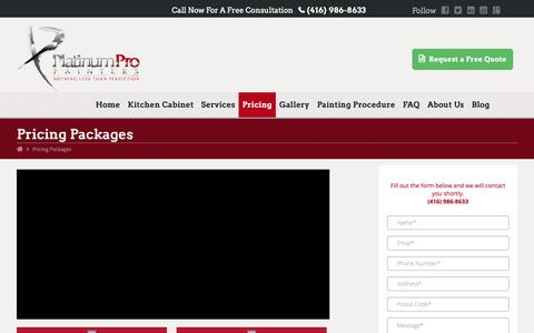 Screenshot of Pricing Page platinumpropainters.com - House Painting Cost | Platinum Pro Painters Toronto - captured Nov. 5, 2018