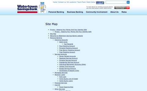 Screenshot of Site Map Page watertownsavings.com - Site Map - captured Sept. 19, 2014