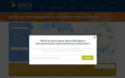 Screenshot of Maps & Directions Page michiganvca.org - Michigan Entrepreneurial & Investment Landscape Map - Michigan Venture Capital Association - captured Nov. 15, 2018
