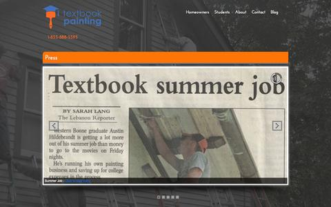 Screenshot of Press Page textbookpainting.com - Local Press | Textbook Painting | College Student House Painters - captured Oct. 9, 2014