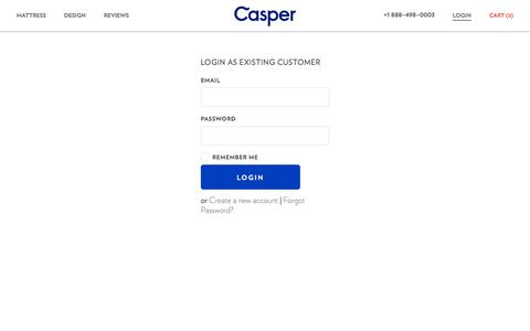 Screenshot of Login Page casper.com - Casper — The Mattress Reimagined - captured Oct. 28, 2014