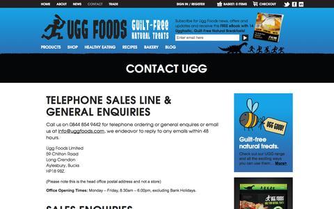 Screenshot of Contact Page uggfoods.com - Contact Ugg Foods - captured Oct. 27, 2014