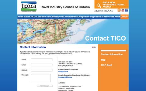 Screenshot of Contact Page Maps & Directions Page tico.ca - Contact Information - captured Nov. 1, 2014