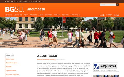 Screenshot of About Page bgsu.edu - About BGSU - captured Oct. 5, 2017