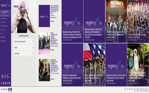 Screenshot of Press Page regency.edu - Press | Regency Beauty Institute - captured Oct. 26, 2014