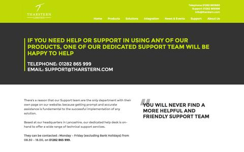 Screenshot of Support Page tharstern.com - Commercial Print MIS Software Support | Tharstern Limited - captured Oct. 26, 2014