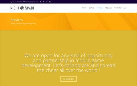 Screenshot of Services Page nightspade.com - Services | Nightspade  | Mobile Game Development Studio - captured Oct. 10, 2014