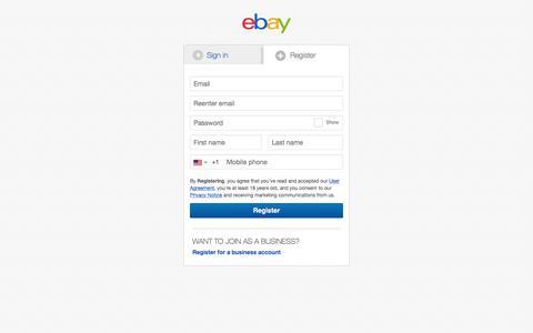 Screenshot of Landing Page ebay.com - Sign in or Register | eBay - captured Aug. 20, 2016