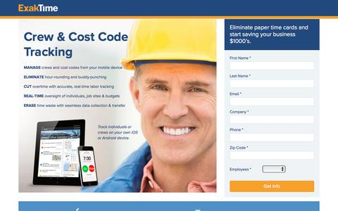 Screenshot of Landing Page exaktime.com - Get Accurate Cost Code Tracking Today - captured Jan. 4, 2017
