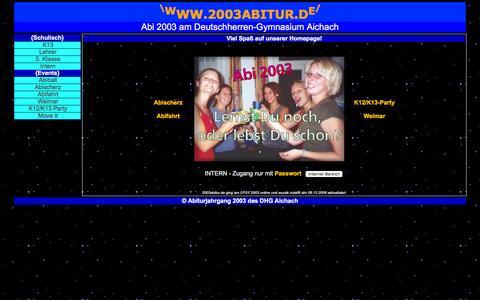 Screenshot of Home Page 2003abitur.de - Abiturjahrgang 2003 des DHG Aichach - captured June 6, 2016