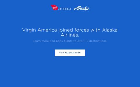 Screenshot of Home Page virginamerica.com - Virgin America joined forces with Alaska Airlines. - captured July 18, 2018