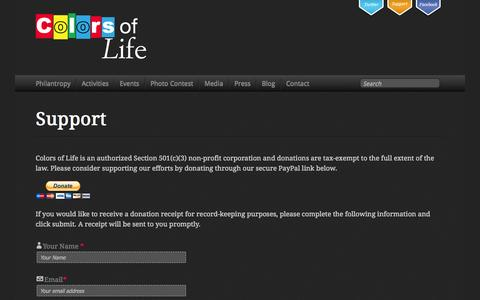 Screenshot of Support Page colorsoflife.org - Support - Colors of Life - captured Sept. 30, 2014