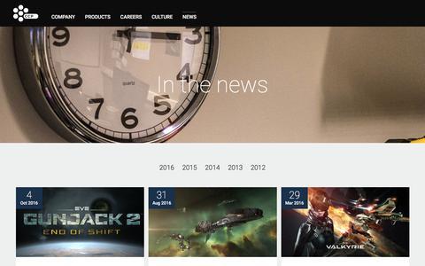 Screenshot of Press Page ccpgames.com - News - CCP Games - captured Oct. 5, 2016
