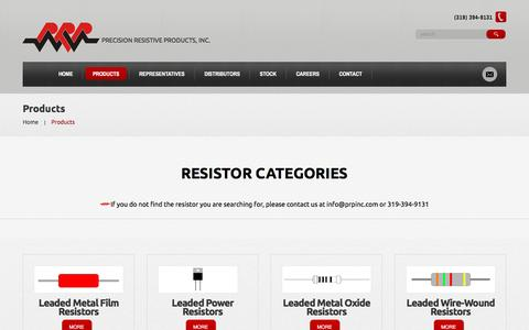 Screenshot of Products Page prpinc.com - Products  |  Precision Resistive Products - captured Nov. 10, 2016