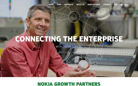Screenshot of Home Page nokiagrowthpartners.com - Investing in growth-stage companies |Nokia Growth Partners - captured Feb. 4, 2016