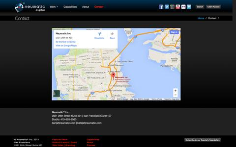 Screenshot of Contact Page Maps & Directions Page neumatic.com - Video Production | Animation | Interactive | Neumatic Digital |San Francisco Bay Area - captured Oct. 25, 2014