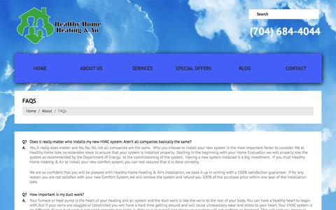 Screenshot of FAQ Page healthyhomecharlotte.com - Heating & Air FAQs from a top Charlotte HVAC Company - captured Oct. 1, 2014