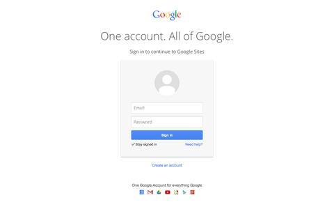 Screenshot of Login Page google.com - Google Sites - captured Oct. 10, 2014