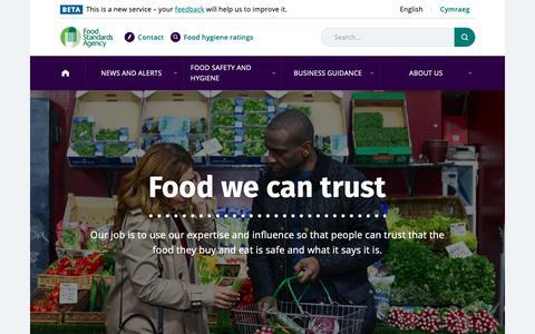 Screenshot of Home Page food.gov.uk - Homepage | Food Standards Agency - captured Oct. 10, 2018