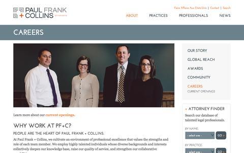 Screenshot of Jobs Page pfclaw.com - PF+C: VT Legal Jobs, Lawyer Jobs, Paralegal Employment Vermont - captured Sept. 24, 2018