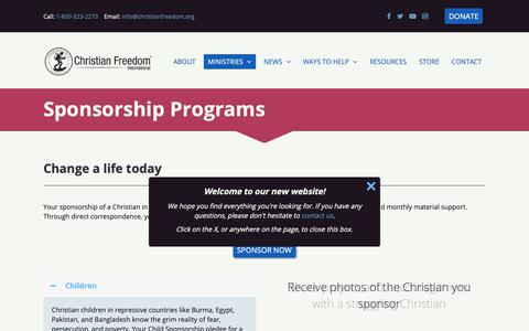 Screenshot of Signup Page christianfreedom.org - Sponsorship Programs | Christian Freedom International - captured Sept. 28, 2018