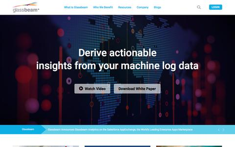 Screenshot of Home Page glassbeam.com - Machine Log Data Analytics - Big Data analytics Platform - captured March 15, 2018