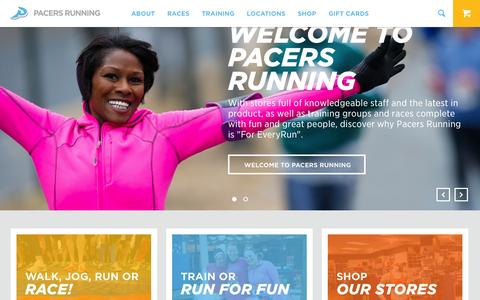Screenshot of Home Page runpacers.com - Pacers Running | For EveryRun - captured Jan. 23, 2015