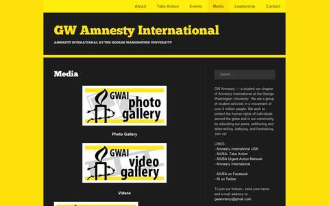 Screenshot of Press Page wordpress.com - Media | GW Amnesty International - captured Sept. 12, 2014