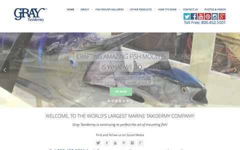Screenshot of Home Page graytaxidermy.com - Fish mounts, saltwater and freshwater fish replicas | Gray Taxidermy - captured Feb. 1, 2016