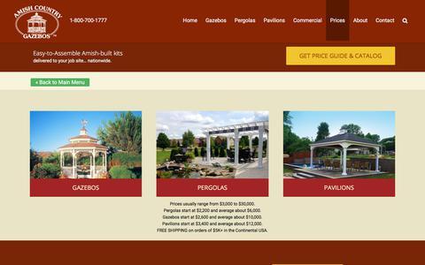 Screenshot of Pricing Page amishgazebos.com - Gazebo Pricing - Wood and Vinyl Options   Amish Country Gazebos - captured Aug. 18, 2019