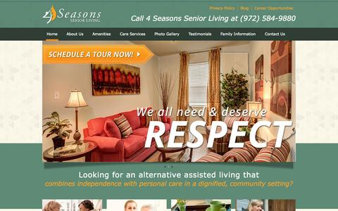 Screenshot of Home Page 4seasonsseniorliving.com - 4 Seasons Senior Living | Personalized Senior Care and Senior Living     Communities in Dallas, Texas - captured Sept. 30, 2014