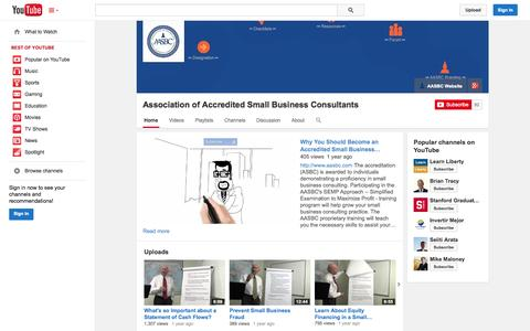 Screenshot of YouTube Page youtube.com - Association of Accredited Small Business Consultants  - YouTube - captured Oct. 23, 2014