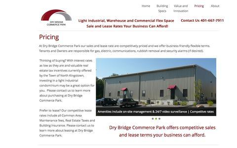 Screenshot of Pricing Page drybridgecommercepark.com - Pricing | Dry Bridge Commerce Park Light Industrial Warehouse Flex Space For Sale Or Lease - captured Oct. 29, 2014