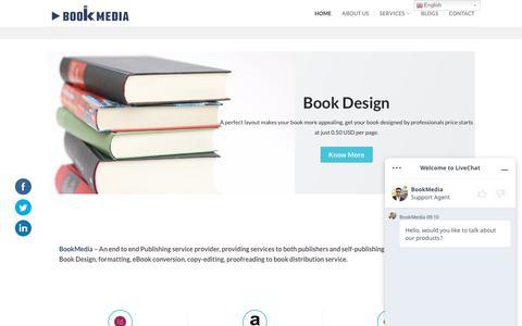 Screenshot of Home Page bookmedia.co - Publishing Service provider | eBooks| Self-Publishing| Book Formatting - captured July 17, 2019