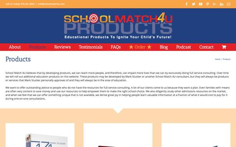 Screenshot of Products Page schoolmatch4uproducts.com - Products – School Match 4U Products - captured Sept. 27, 2018
