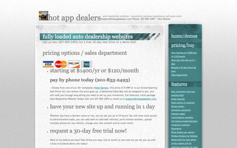 Screenshot of Pricing Page hotappdealers.com - Pricing - captured Sept. 30, 2014