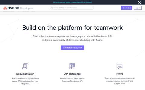 Screenshot of Developers Page asana.com - Asana Developers · Asana - captured Sept. 23, 2019