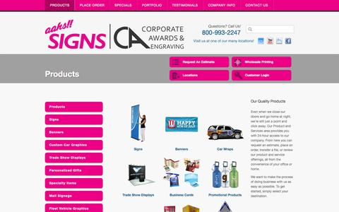 Screenshot of Products Page aahssigns.com - Signs | Banners | Car Wraps |Trade Show Displays | Los Angeles - captured Oct. 4, 2014