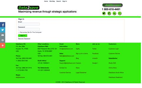 Screenshot of Login Page data2save.com - Sign In - Maximizing revenue through strategic applications - captured Sept. 30, 2014