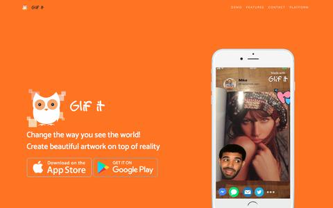 Screenshot of Home Page glif-it.com - Glif it - tag your world - captured July 18, 2018