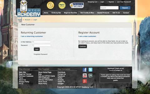 Screenshot of Login Page mtgoacademy.com - Account Login - captured Oct. 29, 2014
