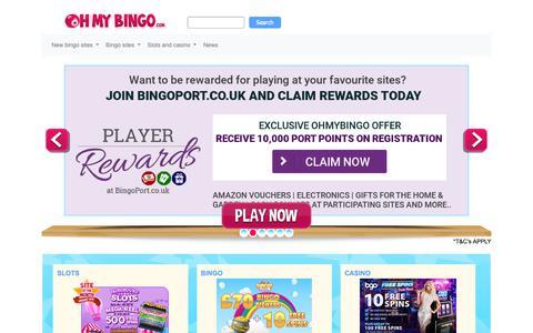 Screenshot of Home Page ohmybingo.com - Play Free Bingo Online | Bingo Sites + Bingo Offers | OhMyBingo - captured Jan. 26, 2019