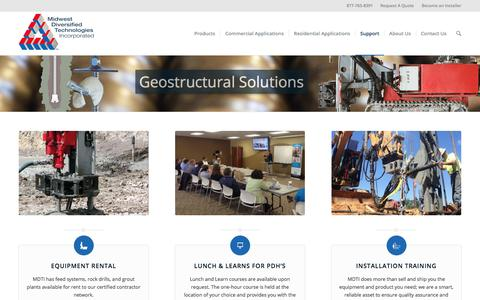 Screenshot of Support Page mdti.net - Geostructure Solutions | Geostructure Engineering On-Site Support - captured Sept. 30, 2017