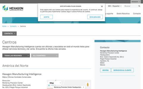 Screenshot of Locations Page hexagonmi.com - Centros | Hexagon Manufacturing Intelligence - captured Oct. 21, 2018
